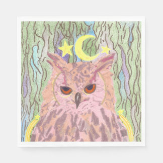 Queen of the Night Girly Owl Set of Napkins Paper Napkins