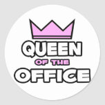Queen of the Office Round Stickers