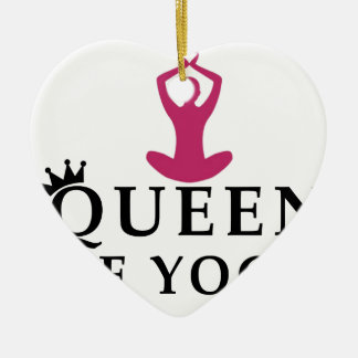 queen of yoga crown ceramic heart ornament