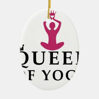 queen of yoga crown ceramic oval ornament