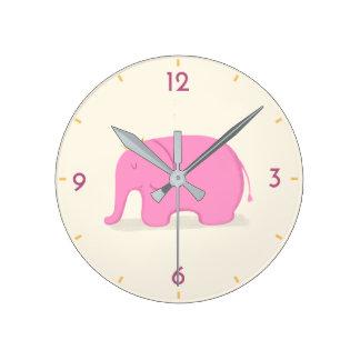 Queen Pink Elephant Cute Cartoon Kids' Wall Clock
