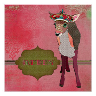 Queen Pretty Pink Fawn Vintage Poster