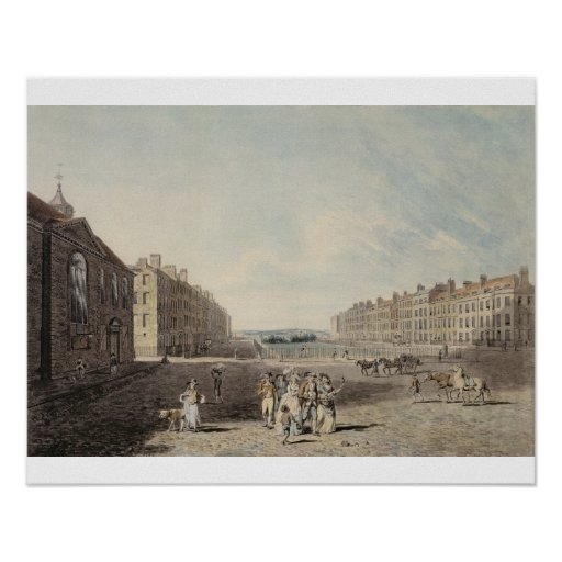 Queen Square, London, 1786 (w/c and pen and ink ov Poster