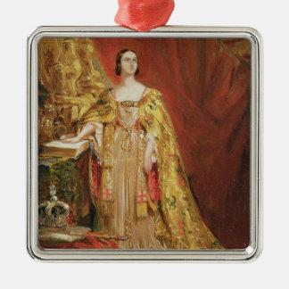 Queen Victoria (1819-1901) Taking the Coronation O Silver-Colored Square Ornament