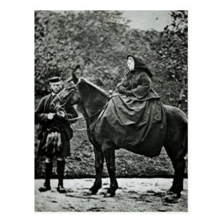 Queen Victoria  on horseback at Balmoral , 1863 Postcard