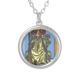 Queen Wands Tarot Card Fortune Teller Silver Plated Necklace