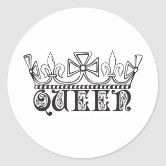 Queen with a crown classic round sticker
