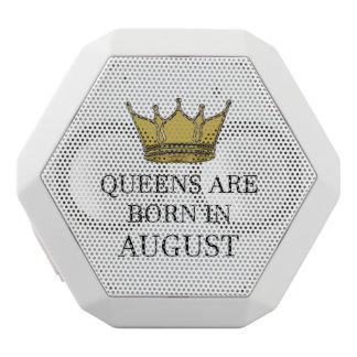 Queens Are Born In August White Bluetooth Speaker