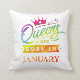 Queens are born in January Birthday Gift Throw Pillow