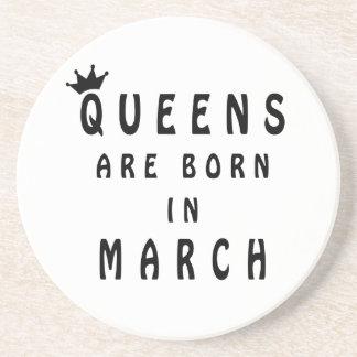 Queens Are Born In March Beverage Coaster
