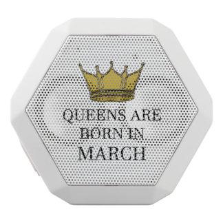 Queens Are Born In March White Bluetooth Speaker