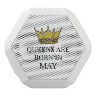 Queens Are Born In May White Bluetooth Speaker