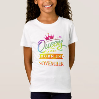 Queens are born in November Birthday. Watercolor T-Shirt