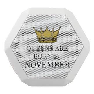 Queens Are Born In November White Bluetooth Speaker