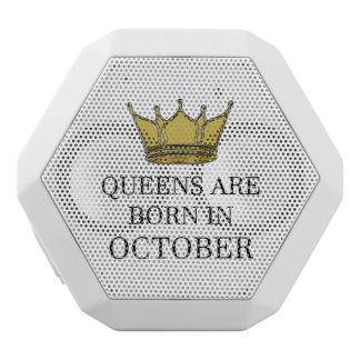 Queens Are Born In October White Bluetooth Speaker