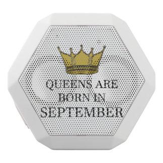Queens Are Born In September White Bluetooth Speaker