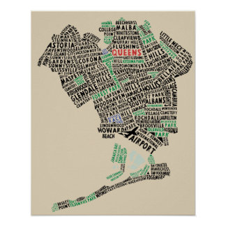 Queens, New York Typography Map Art Poster