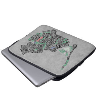 Queens New York Typography Map Laptop Sleeve