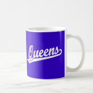 Queens script logo in white distressed coffee mug