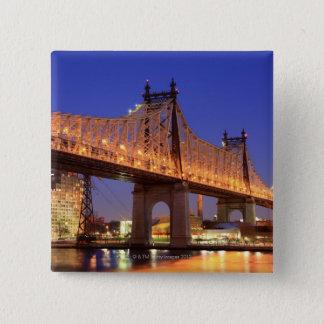 Queensboro Bridge and the East River 2 Inch Square Button