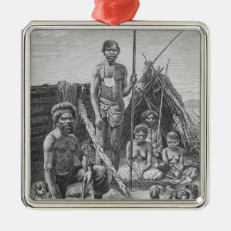 Queensland aborigines engraved from a photograph metal ornament