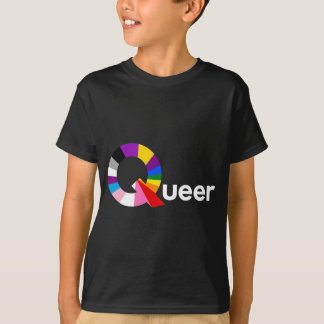 Queer With A Colourful Q (White Text) T-Shirt