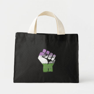 QUEERS RESIST FIST - LGBTQ Vintage Artwork - Mini Tote Bag