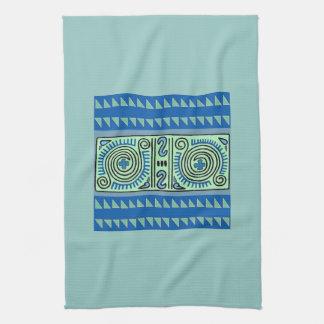 Quenacho Blue Tribal Pattern Kitchen Towel