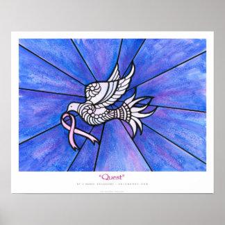 """Quest"" Peace Dove Pink Ribbon Ekleberry Art Poster"