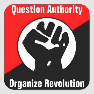 question authority organize revolution square sticker
