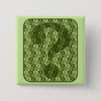 Question Mark Design in Green 2 Inch Square Button