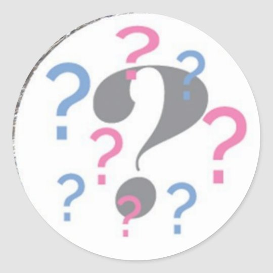 Question mark Gender Reveal Sticker Round