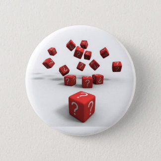 question mark red dice 2 inch round button
