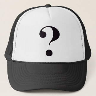 question-mark trucker hat