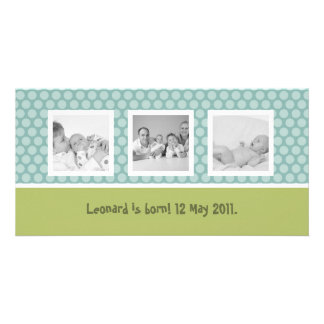 Quick birth announcement with cute polka dots photo greeting card