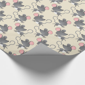 Quiet as a Mouse Cute Animal Pattern Wrapping Paper