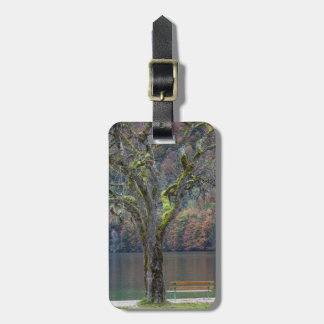 Quiet bench along a lake, Germany Luggage Tag