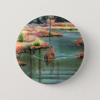 QUIET CANOE by SHARON SHARPE 2 Inch Round Button