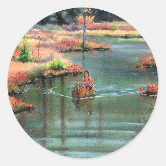 QUIET CANOE by SHARON SHARPE Round Sticker