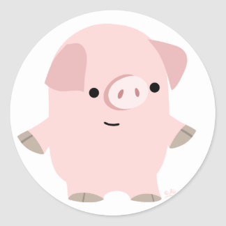 Quiet Cartoon Pig round sticker