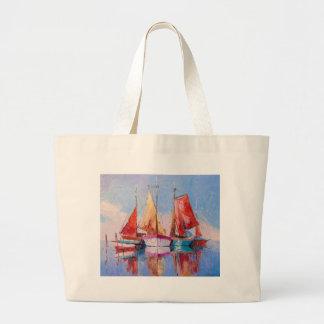 Quiet Harbor Large Tote Bag