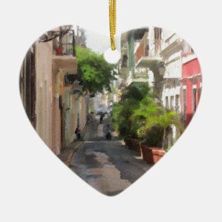 Quiet Little Street of Puerto Rico Ceramic Heart Ornament