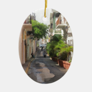 Quiet Little Street of Puerto Rico Ceramic Oval Ornament