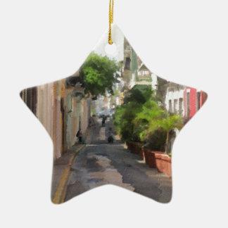 Quiet Little Street of Puerto Rico Ceramic Star Ornament
