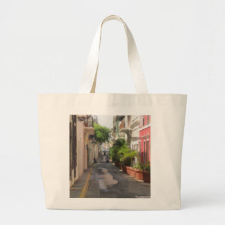 Quiet Little Street of Puerto Rico Large Tote Bag
