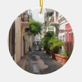 Quiet Little Street of Puerto Rico Round Ceramic Ornament