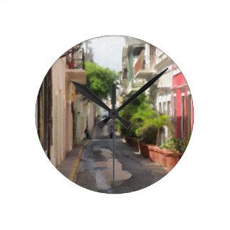 Quiet Little Street of Puerto Rico Round Clock