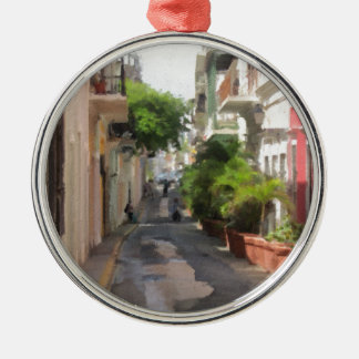 Quiet Little Street of Puerto Rico Silver-Colored Round Ornament