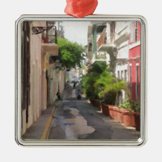 Quiet Little Street of Puerto Rico Silver-Colored Square Ornament