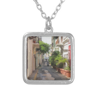 Quiet Little Street of Puerto Rico Silver Plated Necklace